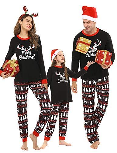 Pollara Pijama Festivo navideño para niños, Conjunto de Pijama navideño de Cuello Redondo Largo, Camisa de Manga Larga y pantalón de Pijama Rojo 90-105 (Recomendado: 5-6 años)