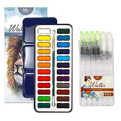 MozArt Supplies Watercolor Paint Set Bundle of 2 Items - 24 Vibrant Colors and 6 Water Brush Pens - Perfect for Budding Hobbyists and Professional Artists