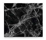Tabla de cortar XL de cristal para cubrir la vitrocerámica, diseño de mármol, color negro