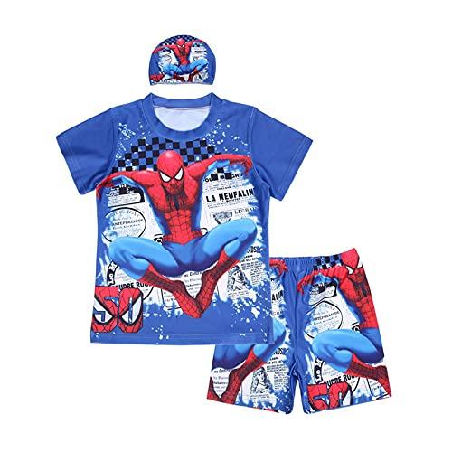 MYYLY Sports Nautiques Garçon Spiderman Maillot De Bain Enfant Cosplay Shorts Manches Plongée sous-Marine Vêtements Plage Surfsuit Vacances,Blue-XS Kids (100~110CM)