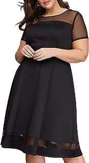 Nemidor Women's Mesh Sleeve Fit and Flare Elegant Plus Size Midi Party Dress