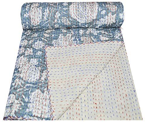 Somukara Kantha-Tagesdecke, indisch, handgefertigt, Baumwolle, Blumendruck, Doppelbettgröße, Überwurf, Decke (grau, Einzelbett)