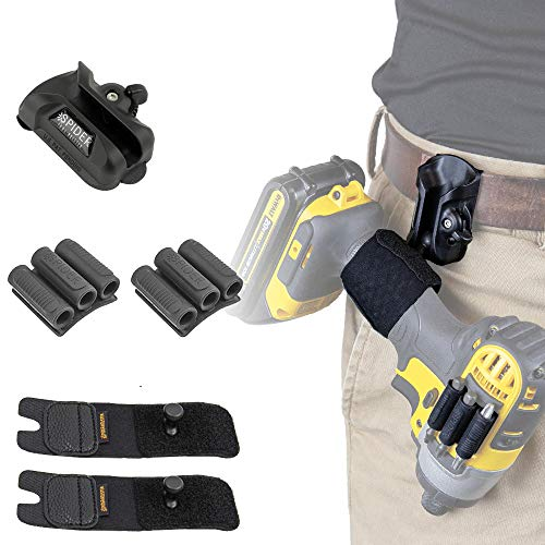 Spider Tool Holster - Dual Tool KIT - 5 Piece Set for Carrying Your Power Drill, Driver, Multi-Tool, Pneumatic, Multi-Tool and Other Hand Tools on Your Belt!