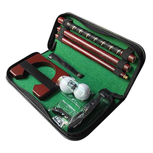 Brownrolly Juego de Putter de Golf, combinación de Tres Secciones, portátil, Interior/Exterior, Juego de Entrenador de Putter, Juego de Regalo de Putter de Madera