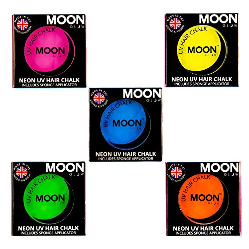 Moon Glow – Craie pour cheveux néon UV 3.5g Assortiment de 5 couleurs. qui produisent un effet fluo incroyable sous la lumière ultraviolette ou noire !