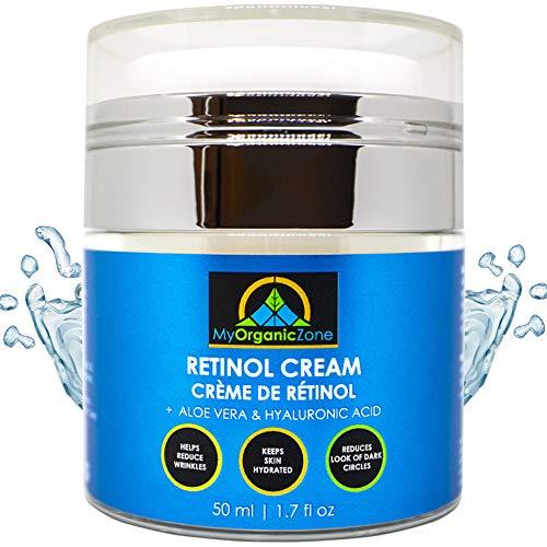 Crème hydratante de rétinol - Hydratant pour le visage et pour la peau, Anti-âge, Lotion hydratante anti-rides pour les mains, Peaux sèches ou sensibles, Crème pour les yeux teintée (1.7 fl.oz/50 ml)