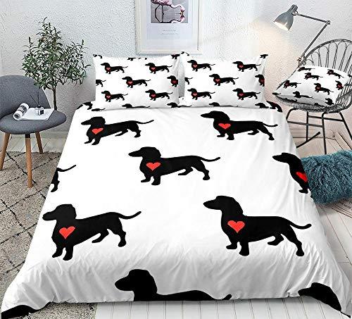 Prinbag Cartoon Pet Bedding Set Dachshund Sausage Dog Duvet cover set Cute Dogs for Kids Teen home Textile 200x200cm