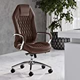 Modern Ergonomic Sterling Genuine Leather Executive Chair with Aluminum Base - Dark Brown