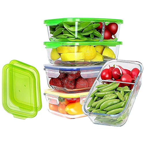 Set of 4 (35 oz) + 2 EXTRA EASY LIDS   JinaMart Large 1&2 Compartment Glass Meal Prep Containers Leak Proof Glass Bento Box Airtight Lunch Containers Microwave Safe Divider   Lids BPA Free (4 pcs)