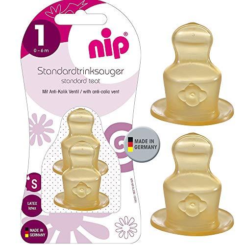 NIP LATEX Sauger 4er Set Feinste Sauglochgröße ab Geburt Gr.1 0-6 Mo. Größe S Tee & Muttermilch Naturlatex