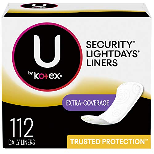 U by Kotex Lightdays Panty Liners, Extra Coverage, Unscented, 112 Count (Packaging May Vary)