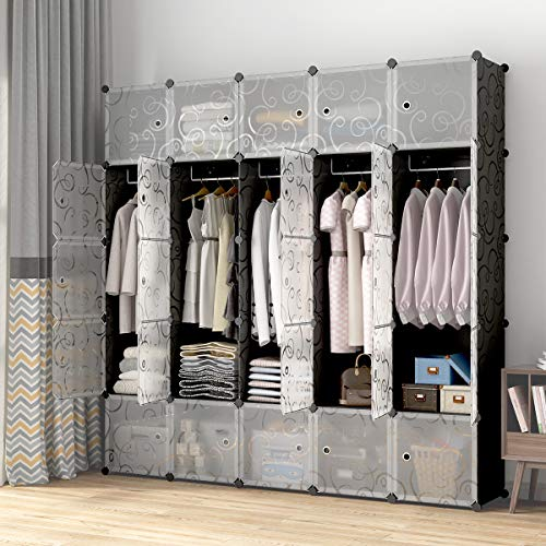 "KOUSI Portable Closets 14""x18"" Depth Cube Wardrobe Closet Wardrobe in Closet Armoire Wardrobe Closet Bedroom Armoire Room Closet"
