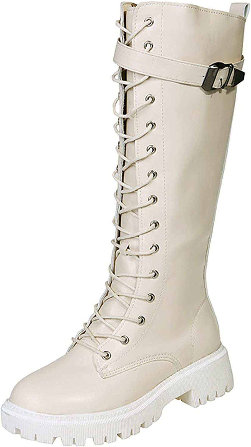 hlysgo Platform Boots for Women Punk Lacing Up Knee High Long Boots & Booties for Girls Round Toe Side Zipper Wedge Shoes
