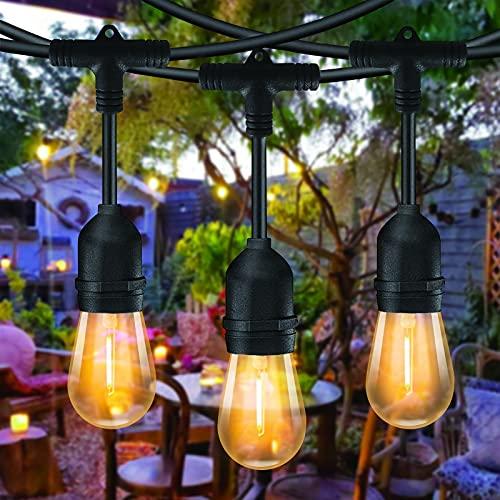 Guirnaldas Luces Exterior 15 metros, Bomcosy S14 Cadena de Luz Exteriores Cadena de Bombillas con 15+2 LED Bombillas Perefcto para Fiesta Boda Jardín Patio Cafe