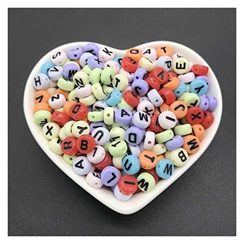 EA01 100 unids / lote 4x7mm acrílico espaciador de acrílico letras de cuentas de cuentas óvales abalorios de alfabeto para joyería haciendo bricolaje accesorios hechos a mano Tl0504 ( Color : 111 )
