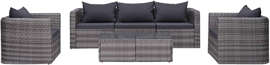 vidaXL 6 Piece Garden Sofa Set with Cushions & Pillows Outdoor Patio Backyard Couch Lounge Seat Furniture Poly Rattan Grey