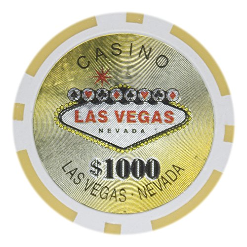 Brybelly Las Vegas Casino Poker Chip Heavyweight 14-Gram Clay Composite – Pack of 50 ($1000 Yellow)