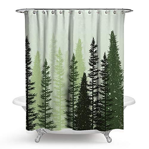 KueiMovi Grüner Wald Duschvorhang Sonne Himmel Bäume Badezimmer Duschvorhang Sets mit Haken Wasserdicht Stoff Badvorhang, Polyester, Grün/Wald, 71X71 IN