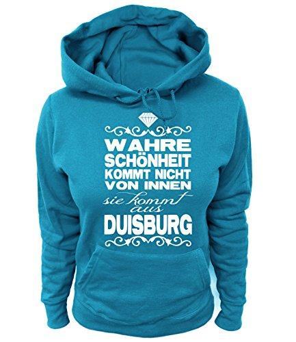 Artdiktat Damen Hoodie - Wahre Schönheit kommt Nicht von Innen - Sie kommt aus Duisburg Größe L, blau