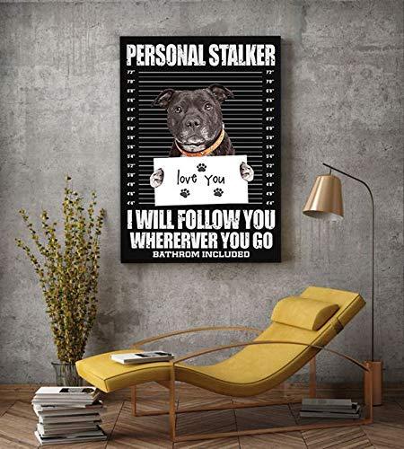 Póster de perro acosador personal Pitbull pintura perro Pitbull, regalo para amantes de los perros, retrato de perro, póster criminal de Pitbull Lover, cartel de metal de 20 x 30 cm