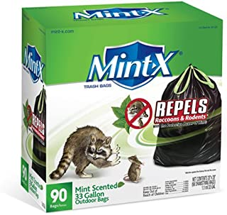 Mint-X Plastic 33 Gallon Drawstring Rodent Repellent Trash Bag, 1.1 Mil, Flat Seal, 39 Height x 33 Length, Black (Pack of 90)