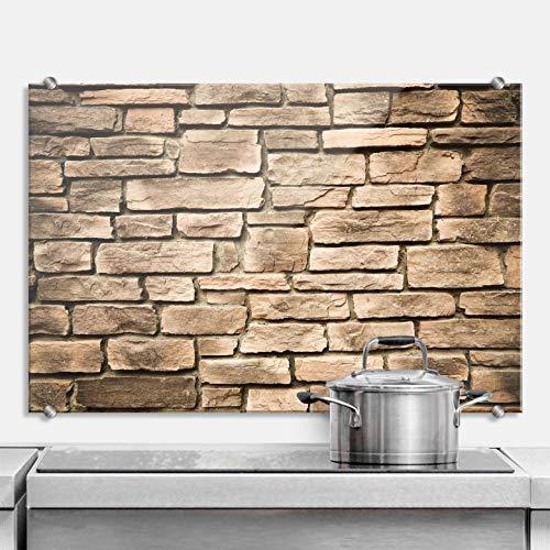 Spritzschutz Italian Stonewall Küche Küchenrückwand Mauer Wand Stein Steinoptik mediterran Naturstein Backsteine braun Wall-Art - 60x40 cm