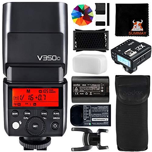 GODOX V350C Flash con X2T-C Disparador 2.4G HSS 1 / 8000s TTL GN36 2000mAh Ving Li-Ion Cámara Flash para Canon Cámara (V350C+X2TC)