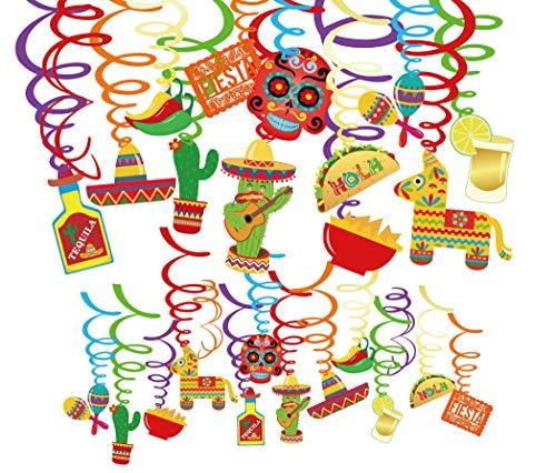 Qpout 30 PCS Mexikanische Hanging Swirl Dekoration, Day of The Dead wirbelt Dekoration Set Dia de los Muertos deko Spiralverzierung Kaktus, Hut, Flasche, Paprika, Totenkopf Spirale Dekoration