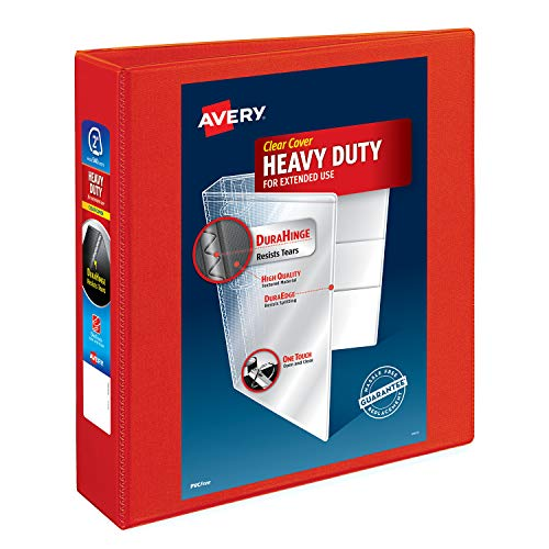 """Avery Heavy Duty View 3 Ring Binder, 2"""" One Touch EZD Ring, Holds 8.5"""" x 11"""" Paper, 1 Red Binder (79225)"""