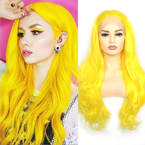BLUPLE Sexy Yellow Synthetic Lace Front Wigs Long Natural Wavy Heat Resistant Hair Replacement Full Wigs for Women (22 inches, Natural Wave,Sexy Yellow)