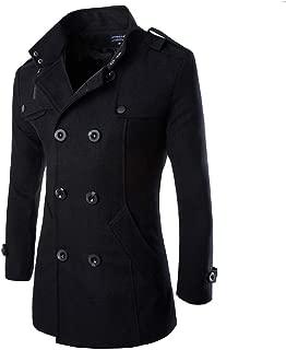 Men's Mid Long Wool Woolen Pea Coat Double Breasted Stand Collar Overcoat Winter Trench Coat