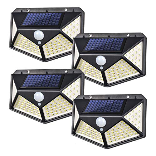 Solar Lights Outdoor - Solar Wall Light 100 LEDs Wireless Solar Motion Sensor Security Lights with 270° Wide Angle IP65 Waterproof 3 Optional Mode for Garden Patio Yard Front Door Garage Porch,4 Pack