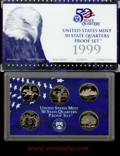 1999-S 50 STATE QUARTERS PROOF SET - 5 COINS