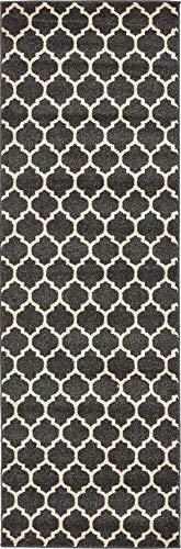 Unique Loom Trellis Collection Moroccan Lattice Black Runner Rug (2' 7 x 8' 0)