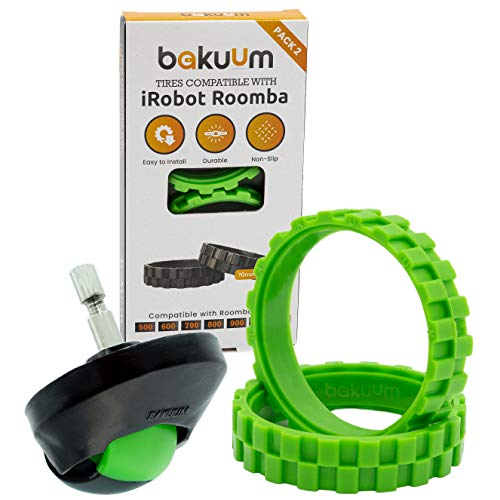 Pack 2 neumáticos + Rueda Delantera Color Verde para iRobot Roomba Series 500 600 700 800 900 i7 e5. Gran adherencia, antideslizante
