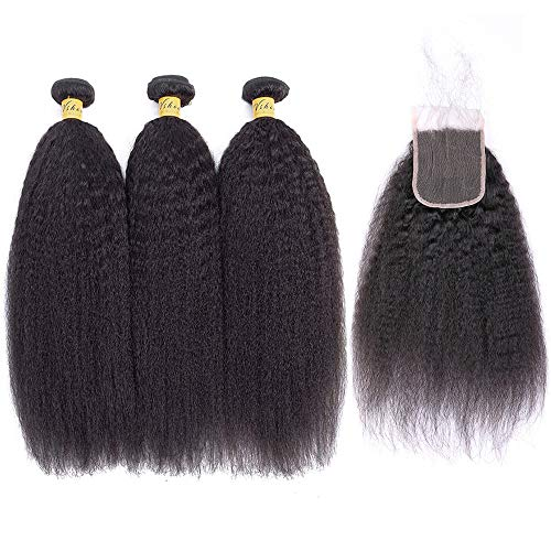 BLISSHAIR Kinky Straight Hair 3 Bündel mit Verschluss Yaki Stragiht Echthaar Weave Bündel mit 4x4 Lace Closure Virin Brazilian Remy Echthaar natürliche Farbe (14 14 14 14 + 10 Closure)
