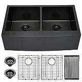 Farmhouse Kitchen Sink Double Bowl - Lordear 33 inch Kitchen Sink...
