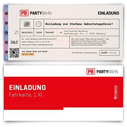 Einladungskarten zum Geburtstag (20 Stück) Bahnkarte Bahn Karte Zug Ticket Zugticket Zugkarte