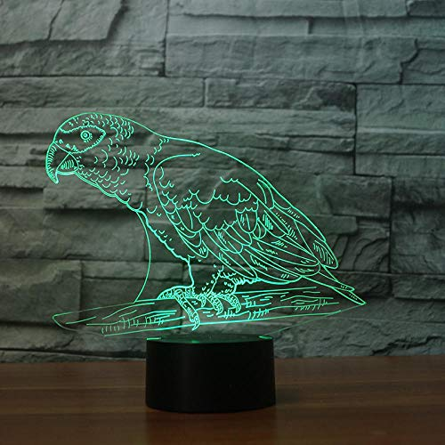 Luz nocturna 3D ilusión LED Luz de Noche Parrot recolecta objetos de lagarto lámpara de escritorio creativa para cumpleaños Con interfaz USB, cambio de color colorido