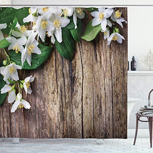 ABAKUHAUS rustikales Holz Duschvorhang, Jasmin-Blumen-Retro, Leicht zu pflegener Stoff mit 12 Haken Wasserdicht Farbfest Bakterie Resistent, 175x180 cm, Braun Grün