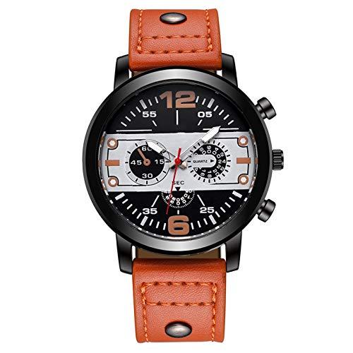 Summerone Reloj de Cuarzo de los Hombres a Prueba de Agua a Prueba de Agua de la Marca de Lujo de la Marca de Lujo Reloj de Reloj de Cuero Deportivo Reloj de Pulsera para Hombres (Color : Orange)