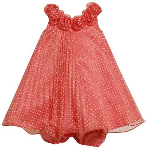 Bonnie Baby Girls Newborn Crystal Pleat Mesh Dress with Dots