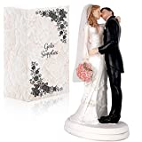 Wedding Cake Toppers - Romantic & Traditional Bride and Groom Kissing with Flowers Figurine   Topper...