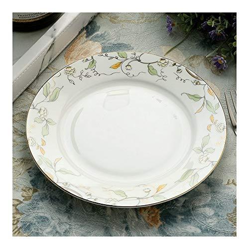 shiy 8 Pulgadas, Fine Bone China Plato Pastel, Placa Decorativa de cerámica, Pintura de la Banda de la Hoja, Platos de Porcelana Blanca, Bandeja de Desayuno vajilla Porcelana