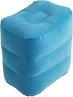 Inflatable Camping Stool, Foldable Travel Foot Rest Pillow | Kids Airplane/Car Bed | Adjustable Height Leg Pillow (Light B...