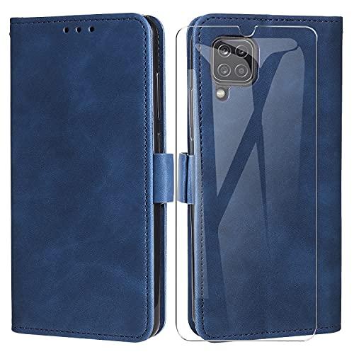 MOONESS Funda Samsung Galaxy A12 con Protector Pantalla Cristal Templado,Funda Libro Magnético Carcasa para Samsung Galaxy A12 - Azul