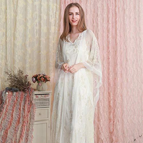 STJDM Nachthemd,Spitze langes Nachthemd weiß romantische Nachtwäsche Herbst Sommer Nacht Kleid Frauen Vintage Schlaf Home Wear Kleid OneSize Beige