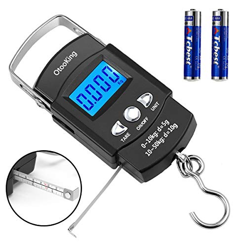 OtooKing Digital Fish Scale, Backlight LCD Display 110lb/50kg Electronic Balance Digital Fishing Postal Hanging Hook Scale with Measuring Tape, 2 AAA Batteries Included