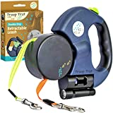 Troop Trot - Double Dog Leash - Retractable, Tangle Free Design - Dual Dog Leash for Small Dogs - 50 lb per Dog - 10 ft Dog Leash w/ Full Nylon Leads - Dog Leash with Light & Bag Dispenser