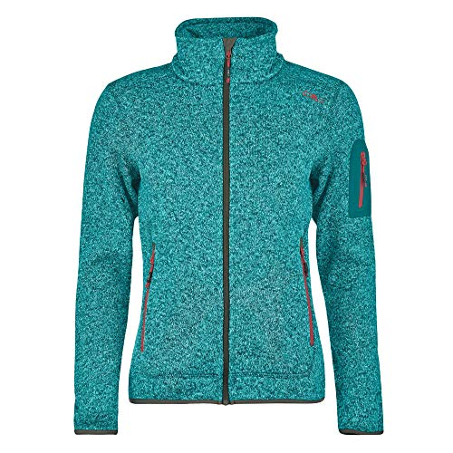 CMP Damen Jacke Knitted Melange Fleece Jacket 3H14746 Lake-Solarium 50